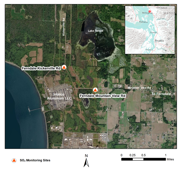 Image of a north-oriented map labeling two sulfur dioxide monitoring sites on Kickerville Road and Mountain View Road in Ferndale and the nearby Intalco Aluminum plant